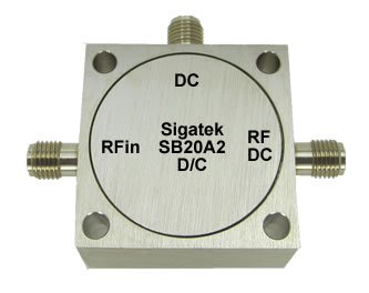 Microwave Bias Tee, high current, SMA, In Stock Outline-A2